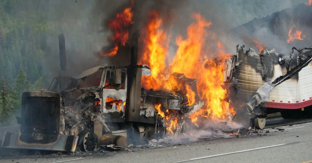 18-Wheeler Catches Fire in Trucking Accident