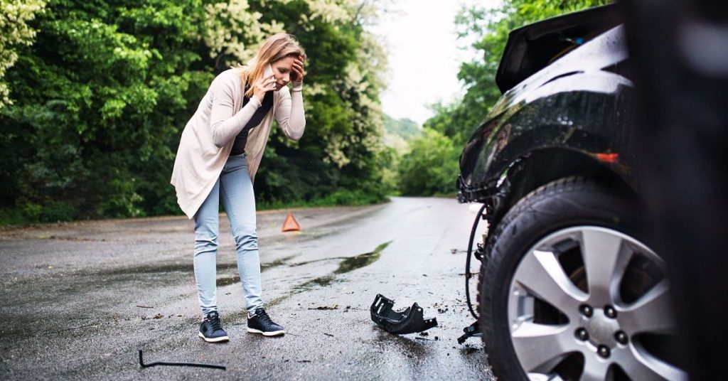 Car in Dangerous Road Accident